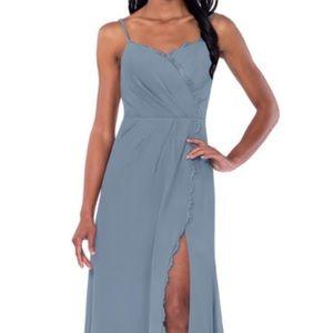 Azazie Tegan Dusty Blue LaceTrim Bridesmaids Dress